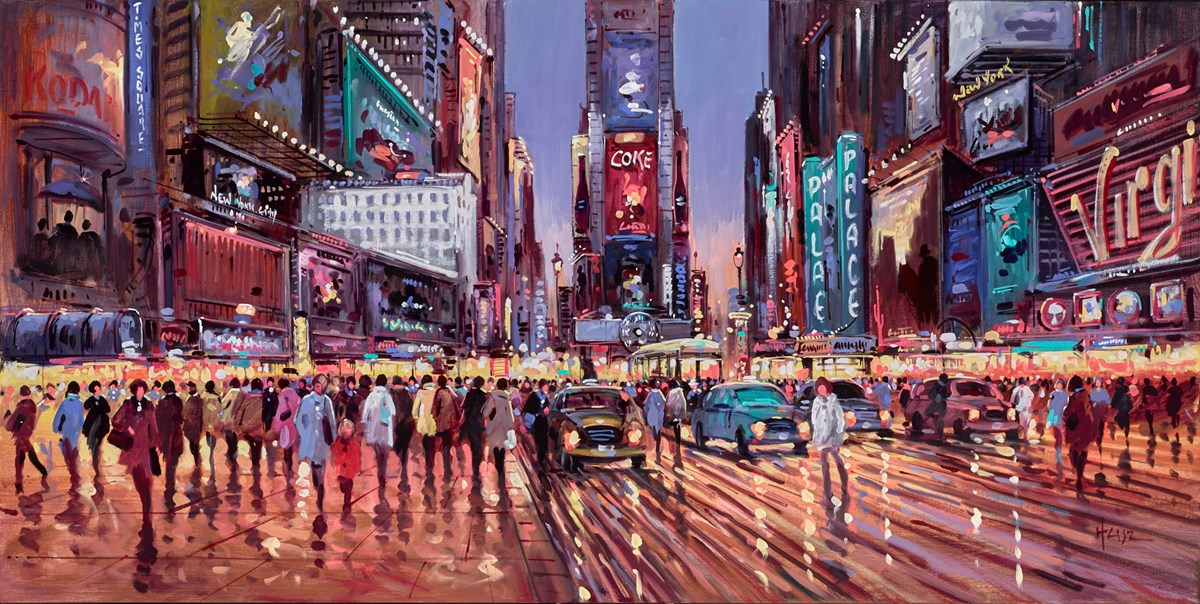 Evening in Time Square by henderson cisz -  sized 48x24 inches. Available from Whitewall Galleries